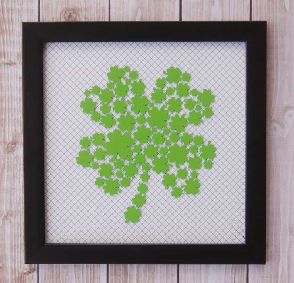 Make a quick and easy decoration for St. Patrick's day with this free Clover SVG file. Free SVG files work with Cricut, Silhouette and other electronic cutters.