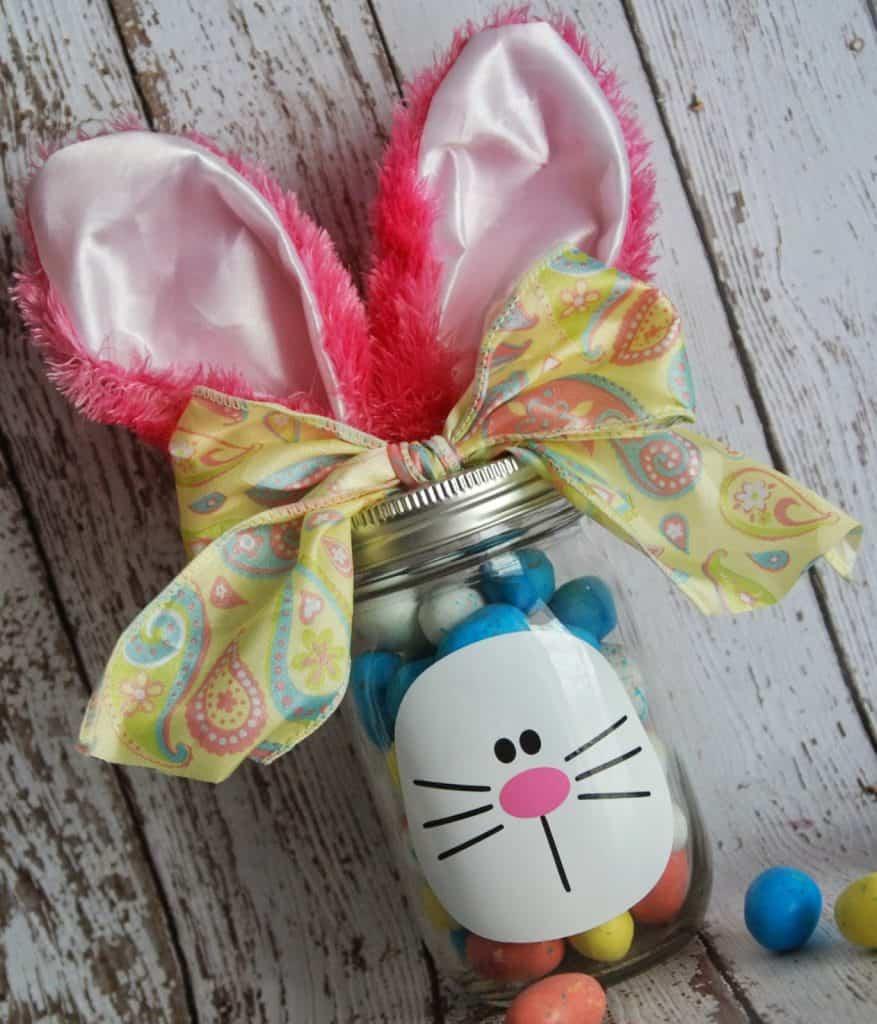 Easter Bunny Mason Jar Gift Idea for Silhouette and Cricut