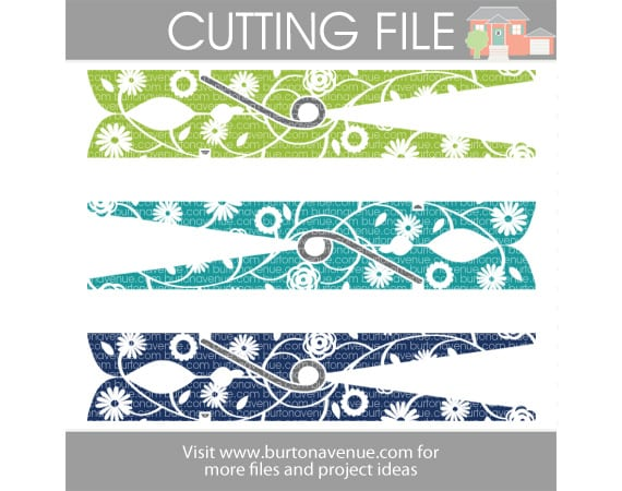 Free Floral Clothespin SVG File for Silhouette and Cricut | Laundry Room SVG Files