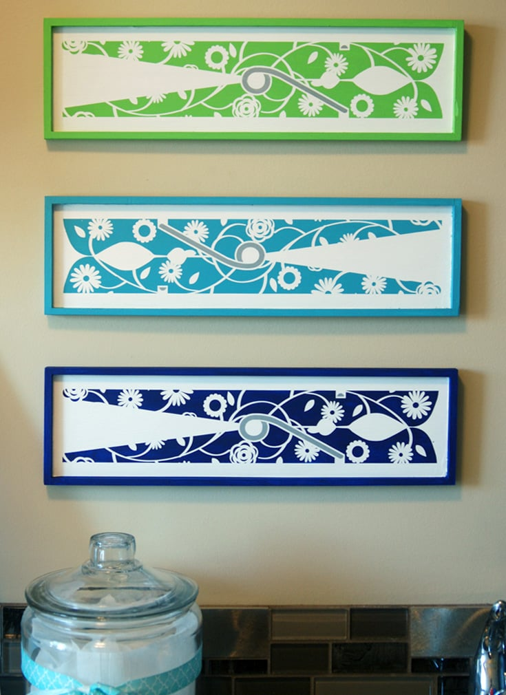 A cute and colorful laundry room project with your Silhouette or Cricut.