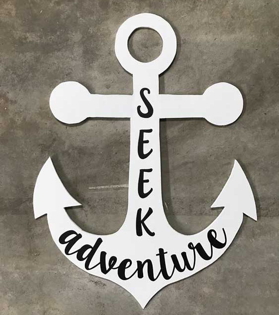 Large Wood Anchor Wall Art with a Silhouette or Cricut