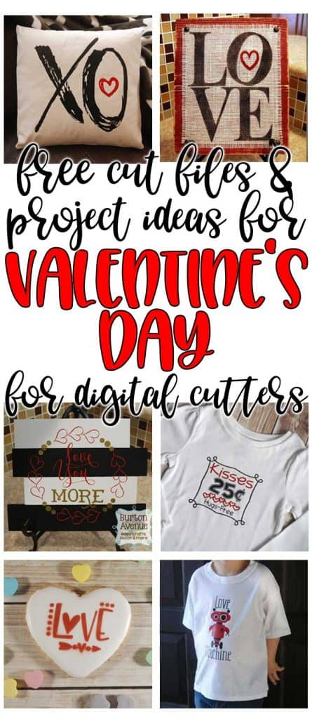 Free SVG cut files and project Ideas for Valentine's Day for Silhouette and Cricut cutters