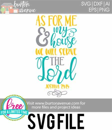 #wewillservethelordsvg #asformeandmyhousesvg #familyquotesvg #silhouette #cricutexplore. So many possibilities of DIY projects with this Free As for Me and My House, We Will Serve the Lord SVG File. Make signs, pillows, t-shirts and more for with this Free SVG file. Free Ai, SVG, PNG, EPS & DXF download. Free As for Me and My House, We Will Serve the Lord SVG files works with Cricut, Cameo Silhouette and other major cutting machines.