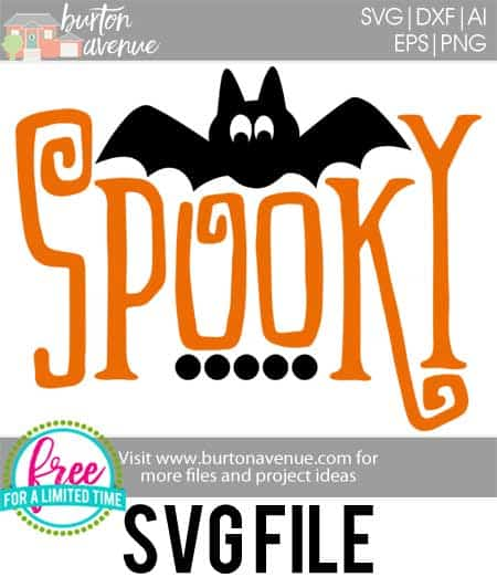 So many possibilities of DIY projects with this Free Spooky w/Bat SVG. Make signs, pillows, t-shirts and more for with this Free Spooky w/Bat SVG file. Free Ai, SVG, PNG, EPS & DXF download. Free Spooky w/Bat SVG files works with Cricut, Cameo Silhouette and other major cutting machines. #halloweensvg #spookysvg #silhouette #cricutexplore