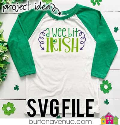 This free SVG file will be available to download for free until 3/3/19. So many possibilities of DIY projects with this A wee bit Irish SVG. Make signs, pillows, t-shirts and more with this A wee bit Irish SVG file. Free Ai, SVG, PNG, EPS & DXF download. A wee bit Irish SVG files works with Cricut, Cameo Silhouette and other major cutting machines. #stpatrickssilhouette #stpatrickscircut #stpatrickssvg #silhouette #cricutexplore