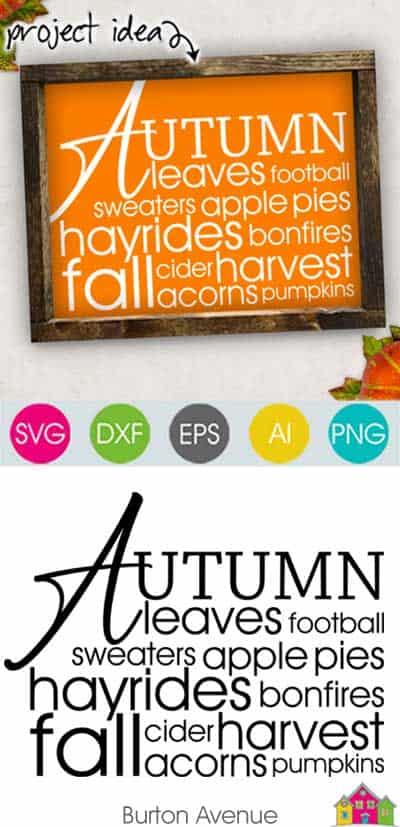 Autumn Word Art SVG File
