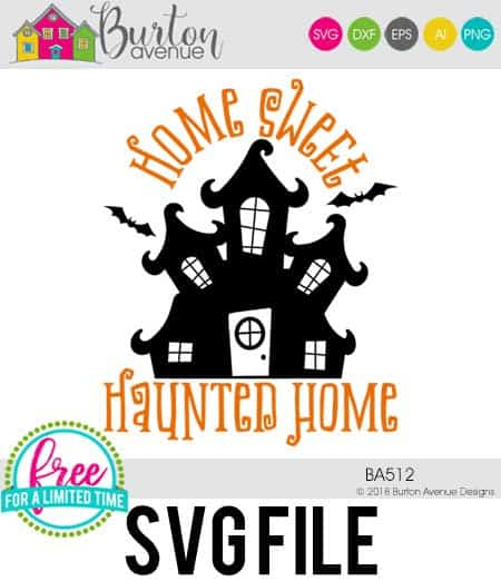 So many possibilities of DIY projects with this Free Home Sweet Haunted Home SVG. Make signs, pillows, t-shirts and more for with this Free Home Sweet Haunted Home SVG file. Free Ai, SVG, PNG, EPS & DXF download. Free Home Sweet Haunted Home SVG files works with Cricut, Cameo Silhouette and other major cutting machines. #halloweensvg #homesweethauntedhomesvg #silhouette #cricutexplore