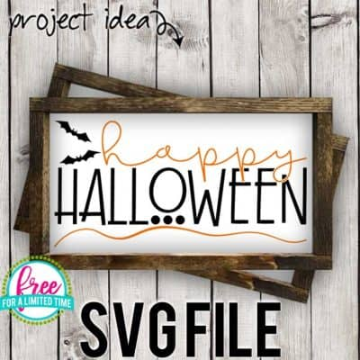 So many possibilities of DIY projects with this Free Happy Halloween SVG. Make signs, pillows, t-shirts and more for with this Free Happy Halloween SVG file. Free Ai, SVG, PNG, EPS & DXF download. Free Happy Halloween SVG files works with Cricut, Cameo Silhouette and other major cutting machines. #halloweensvg #happyhalloweensvg #silhouette #cricutexplore