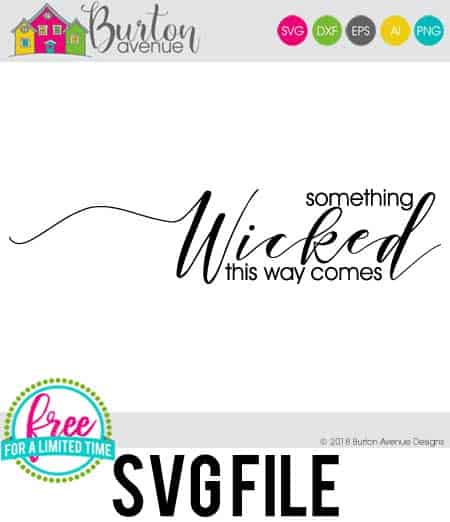 So many possibilities of DIY projects with this Free Something Wicked this way Comes SVG. Make signs, pillows, t-shirts and more for with this Free Something Wicked this way Comes SVG file. Free Ai, SVG, PNG, EPS & DXF download. Free Something Wicked this way Comes SVG files works with Cricut, Cameo Silhouette and other major cutting machines. #halloweensvg #somethingwickedsvg #silhouette #cricutexplore