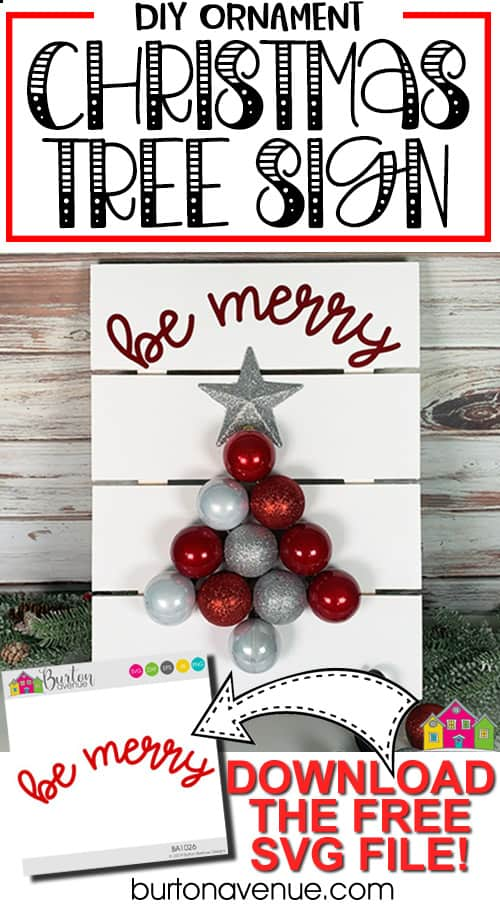 DIY Ornament Christmas Tree Sign