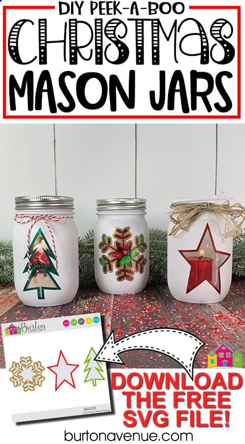 DIY Christmas Peek-a-Boo Mason Jars