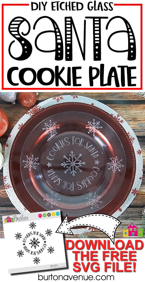 DIY Etched Glass Santa Plate