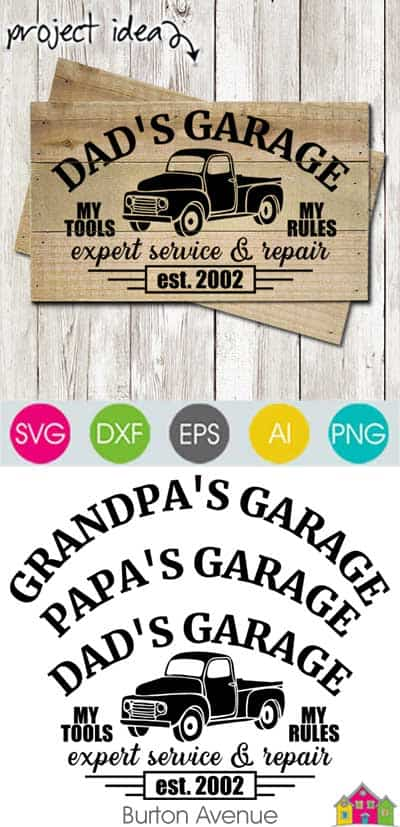 Dad's Garage with Car SVG File