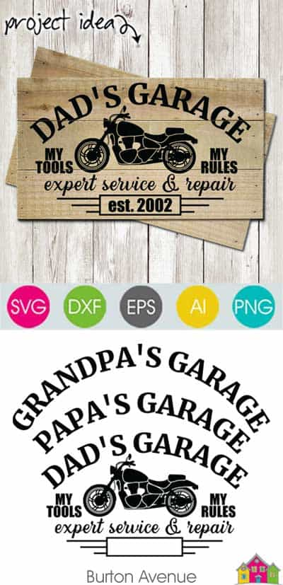 Dad's Garage with Motorcycle SVG File
