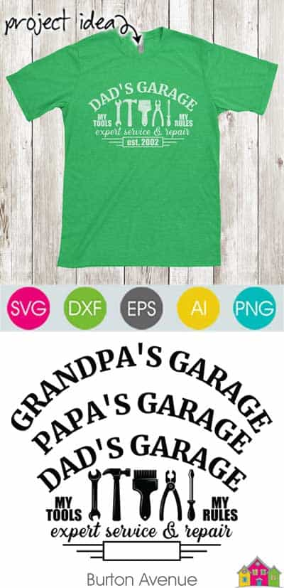 Dad's Garage with Tools SVG File