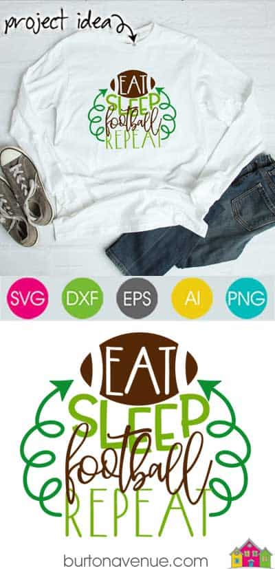 This free SVG file will be available to download for free until 2/10/19. So many possibilities of DIY projects with this Free Eat Sleep Football Repeat SVG. Make signs, pillows, t-shirts and more with this Free Eat Sleep Football Repeat SVG file. Free Ai, SVG, PNG, EPS & DXF download. Free Eat Sleep Football Repeat SVG files works with Cricut, Cameo Silhouette and other major cutting machines. #footballsvg #footballsilhouette #foorballcircut #silhouette #cricutexplore