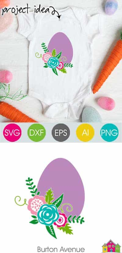 Egg with Flowers SVG File