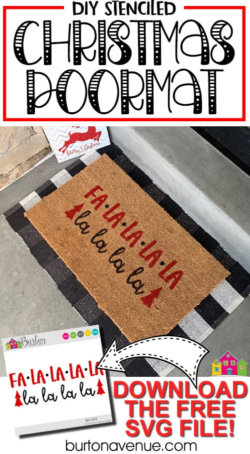 DIY Stenciled Christmas Doormat