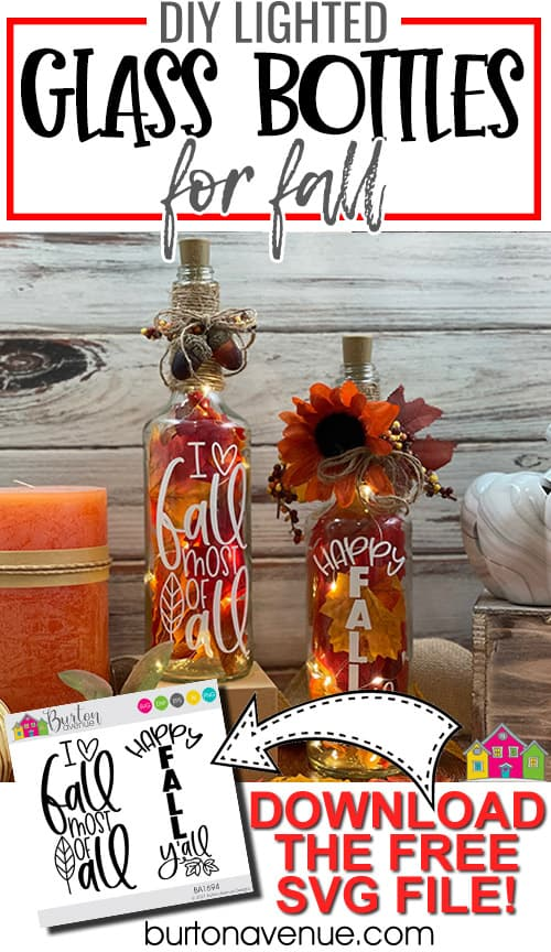 DIY Lighted Glass Bottles for Fall