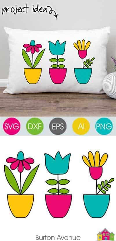 Flowers in Pots SVG File
