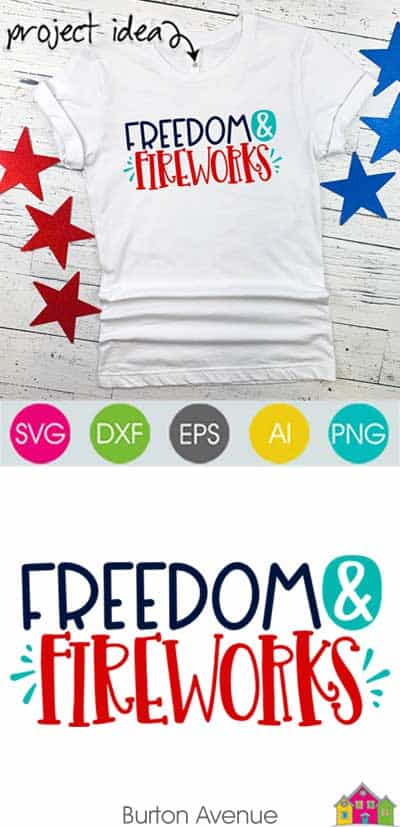 Freedom and Fireworks SVG File