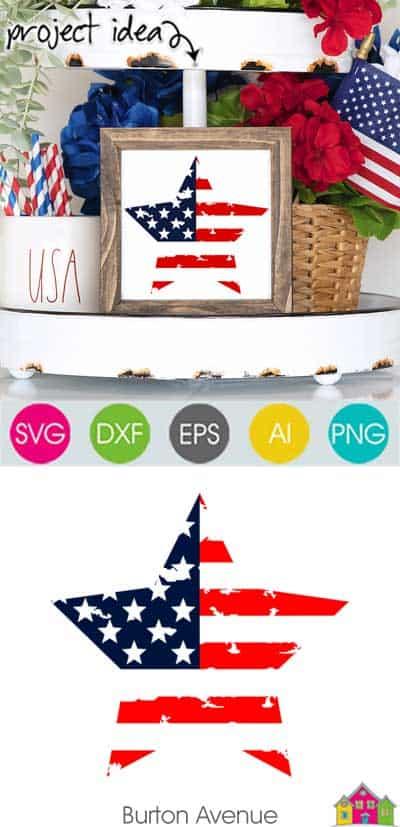 Grunge Patriotic Star SVG File