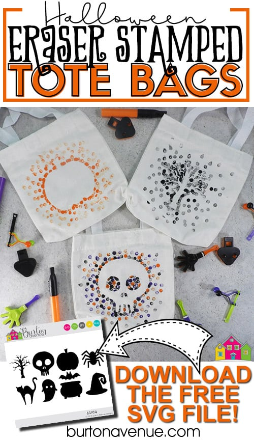 Halloween Eraser-Stamped Tote Bags
