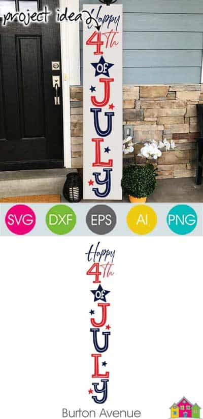 Happy 4th of July Vertical SVG File