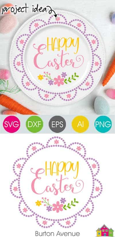 Happy Easter with Flowers SVG File