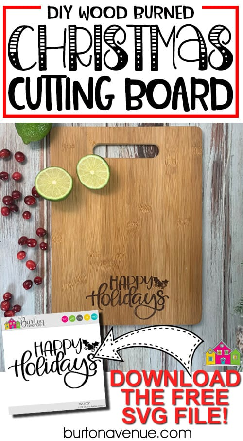 DIY Wood Burned Christmas Cutting Board