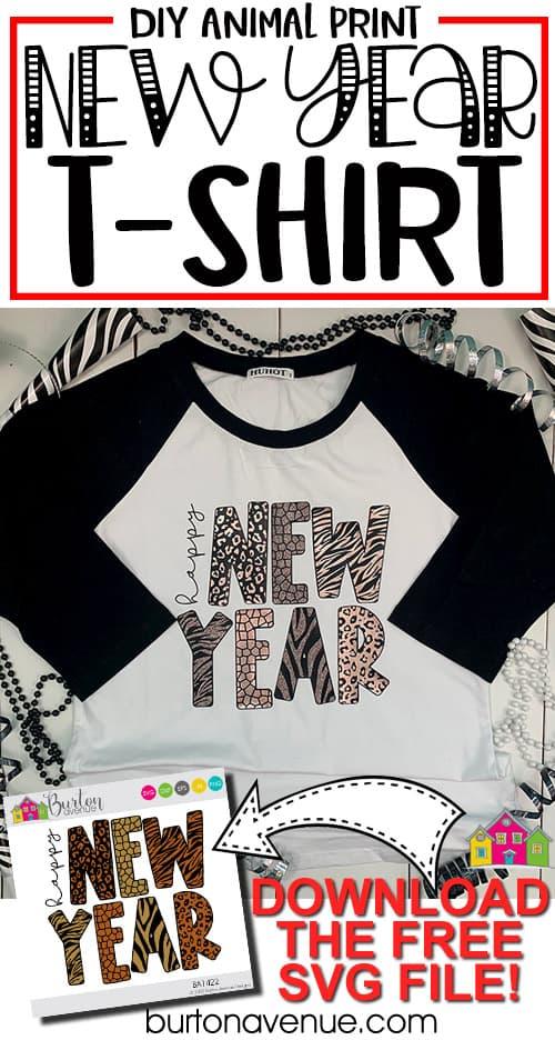 DIY Happy New Year Animal Print T-Shirt