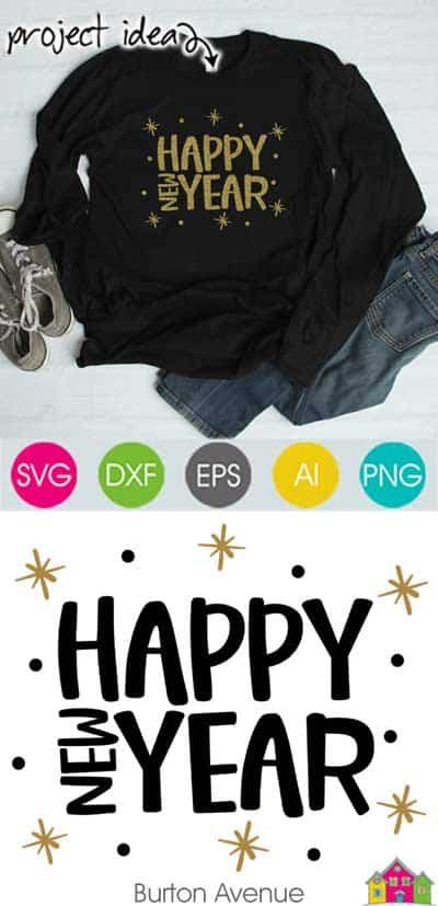 Happy New Year Stars Dots SVG File