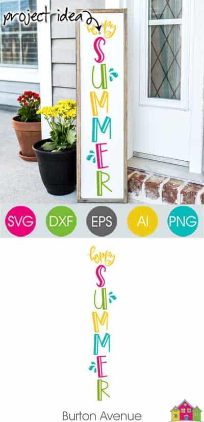 Happy Summer Vertical SVG File