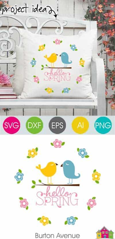 Hello Spring w/Birds & Flowers SVG File