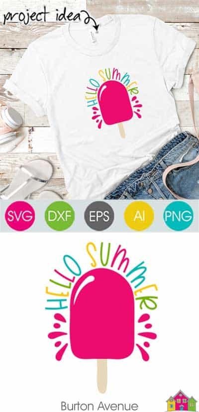 Hello Summer w Popsicle SVG File