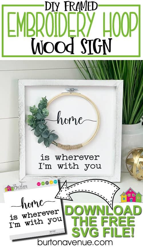 Framed Embroidery Hoop Wood Sign
