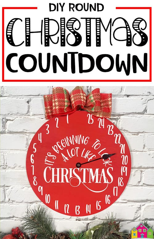 Round Christmas Countdown Sign