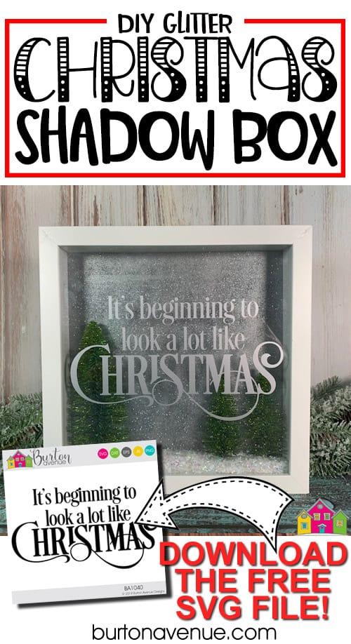 DIY Glitter Christmas Shadow Box