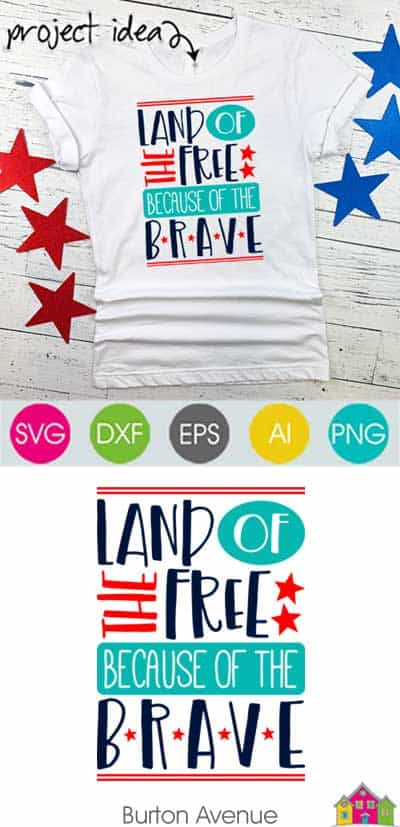 Land of the Free Because of the Brave SVG File