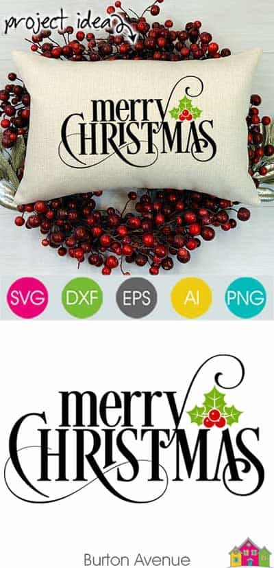 Merry Christmas w/Holly Berry SVG File