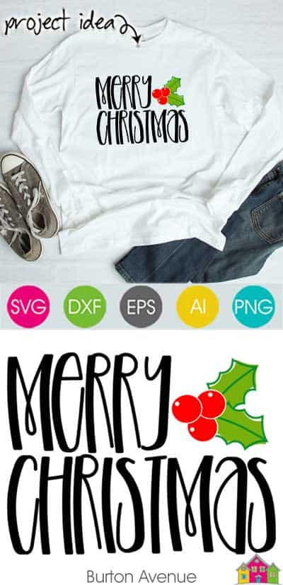 Merry Christmas with Holly Berries – Limited Time Free SVG File