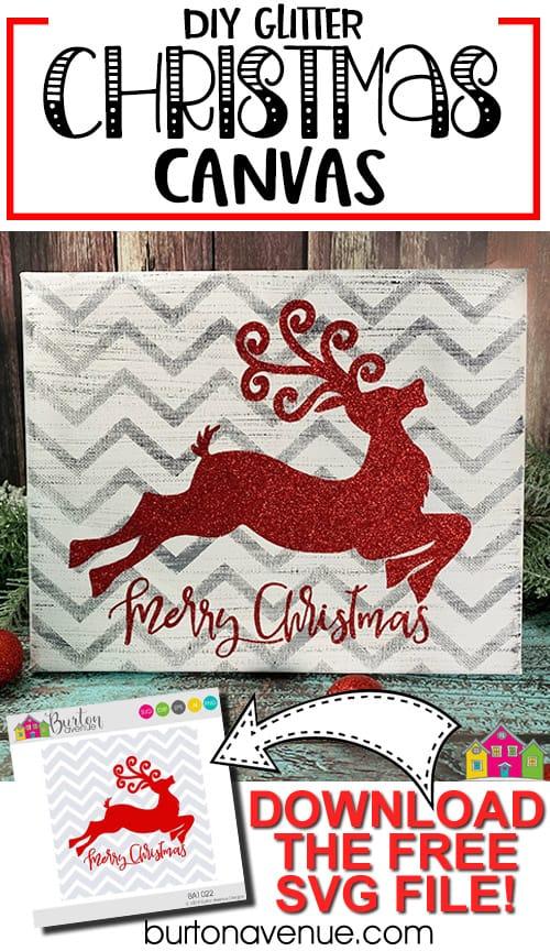 DIY Glitter Christmas Canvas