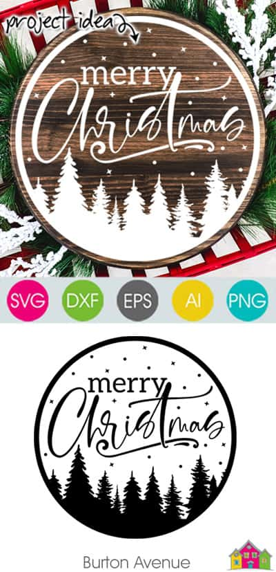 Merry Christmas with Trees and Stars SVG File