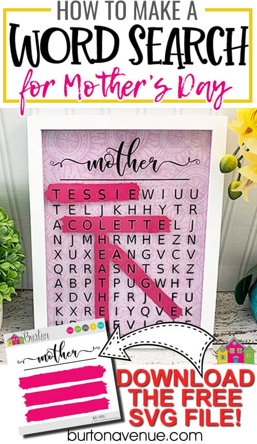DIY Word Search Sign for Mother's Day