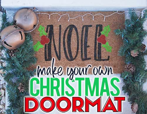 Make your own custom Christmas doormat with your Silhouette or Cricut machine. This DIY project is easy and quick to make and is the perfect decoration for Christmas porch. #ChristmasSilhouette #ChristmasCricut #ChristmasSVG #Christmasdoormat