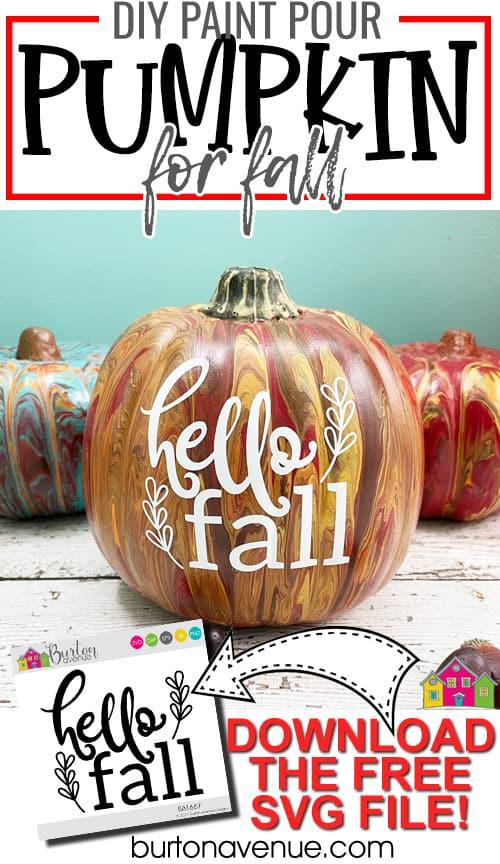 DIY Paint Pour Pumpkin for Fall