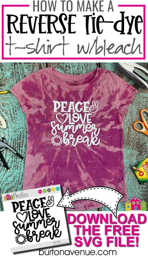 DIY Reverse Tie-Dye Summer Break T-Shirt