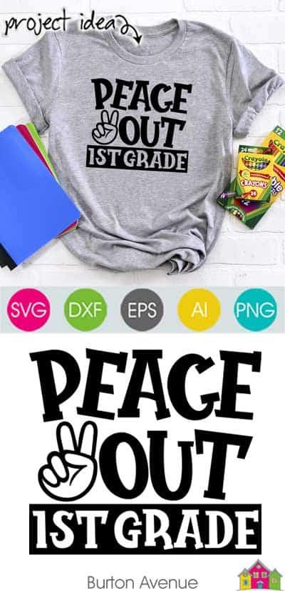 Peace Out 1st Grade SVG File