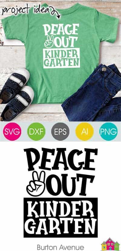 Peace Out Kindergarten SVG File