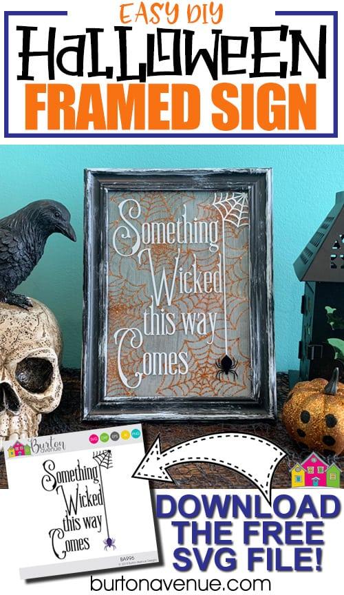 Easy DIY Halloween Framed Sign